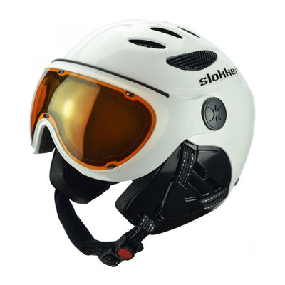 Skihelm Slokker  raider  - white black - photochromic polarized Vizier  (☁/☀/❄)