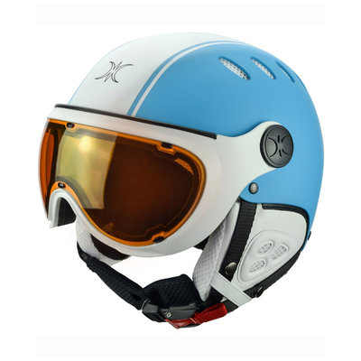 Skihelm Slokker  pato  - blue white - photochromic polarized Vizier (☁/☀/❄)
