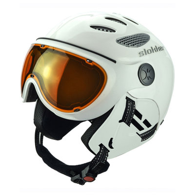Skihelm Slokker  raider  - white - photochromic polarized Vizier  (☁/☀/❄)