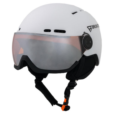 Skihelm met Vizier Brunotti oberon 5  - white - orange mirror Vizier (☁/❄)