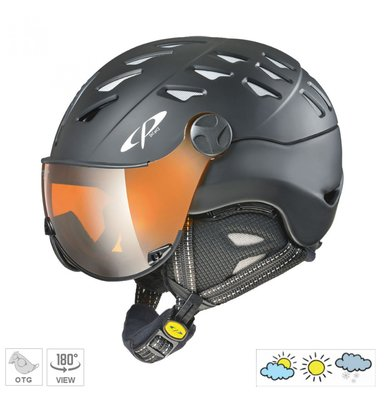CP Cuma Skihelm - Black Soft Touch - Orange Silver Mirror Visor S2  (☁/❄/☀)