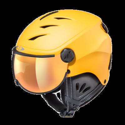 Skihelm met vizier cp camulino - flash gold mirror - ❄/☁/☀  geel, zwart