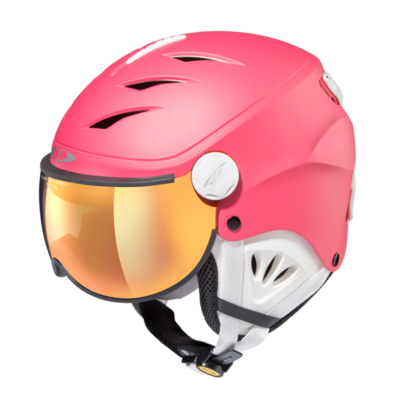 Skihelm met vizier cp camulino - flash gold mirror - ❄/☁/☀ pink, wit