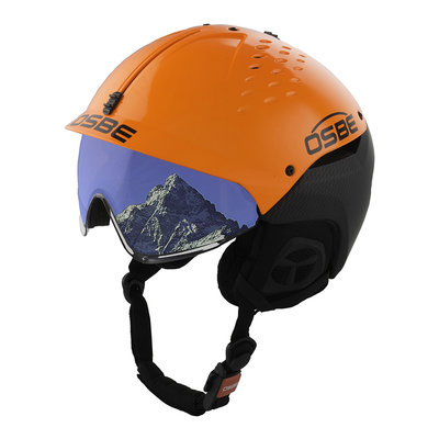 Skihelm Osbe Avenger met Vizier Carbon look Orange cat. 2 (☁/❄)