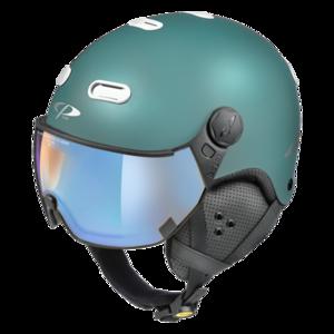 Snowboard helm met Vizier CP Carachillo blue-white Dl Vario Lens Brown Pol Ice Mirror