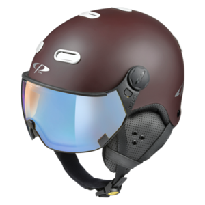 Snowboard helm met Vizier CP Carachillo brown-white Dl Vario Lens Brown Pol Ice Mirror