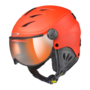 Skihelm mit visier Camulino -  Red s.t. / Black  - Orange Silver Mirror