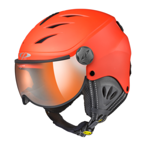 Skihelm mit visier Camulino -  Red s.t./Black - Flash Gold Mirror