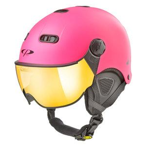 CP Carachillo XS skihelm roze fluo pink matt snow shite st - kinder skihelm met spiegel vizier - dames skihelm met vizier - kin