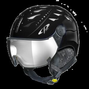Helm Cuma Swarovski black Shiny Silver Mirror